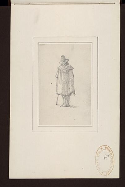 anonyme : Pèlerin vue de dos, portant cape, bâton et chapeau .