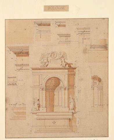 Chapelles de la cathédrale Saint-Pétrone à Bologne (construites par Vignole) ; Elévation du maître autel