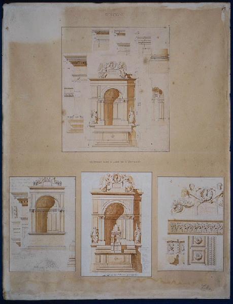 LEBAS Louis Hippolyte (dessinateur, architecte) : Chapelles de la cathédrale Saint-Pétrone à Bologne (construites par Vignole), Détail de la partie centrale du maître d'autel