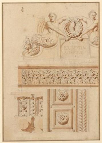 Chapelles de la cathédrale Saint-Pétrone à Bologne (construites par Vignole) ; Détail de la partie centrale du maître d'autel_0