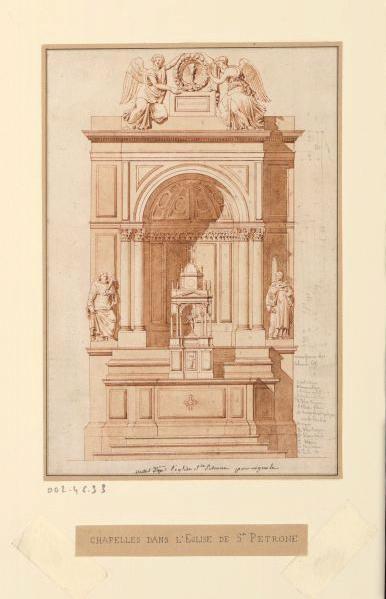 Chapelles de la cathédrale Saint-Pétrone à Bologne (construites par Vignole) ; Elévation du maître autel_0