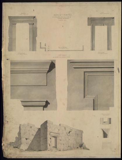 GARREZ Pierre Joseph (dessinateur) : Temple de Diane à Céfalù (Sicile) (Murs et porte.)