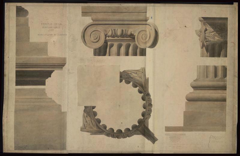GARREZ Pierre Joseph (dessinateur) : Temple de la Fortune Virile à Rome