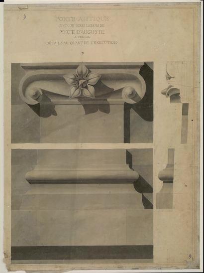 GARREZ Pierre Joseph (dessinateur) : Porte d'Auguste à Perugia