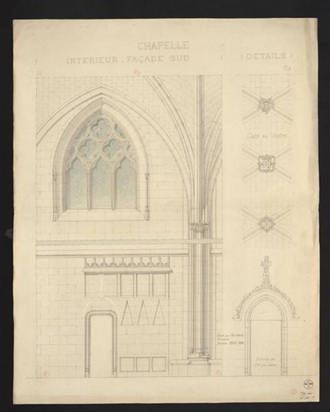 Château d'Angers, intérieur de la chapelle (Façade sud)