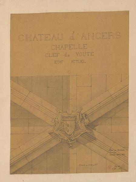 Château d'Angers, chapelle, clef de voûte, état actuel