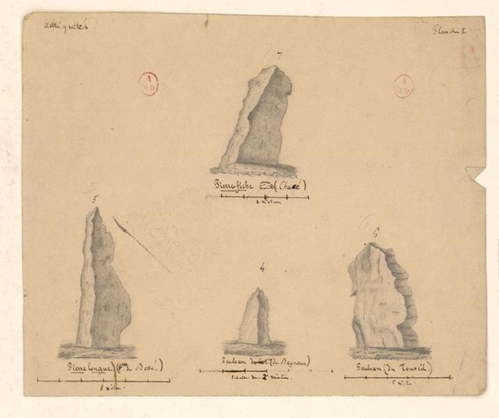 Planche I; Atlas de statistique du département de Maine et Loire (Dessin modèle pour certaines pierres levées de la première planche de l'atlas)