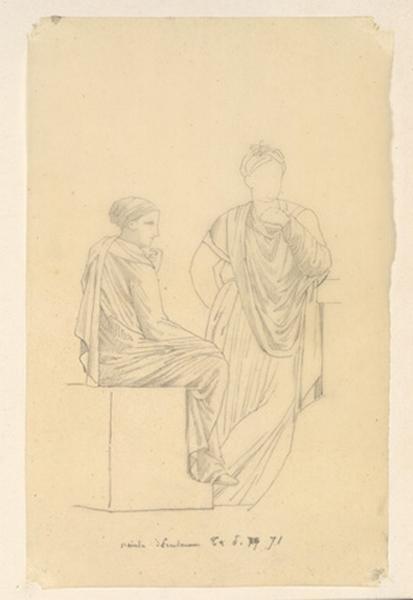 LENEPVEU Jules Eugène (dessinateur) : Femme assise de trois-quarts