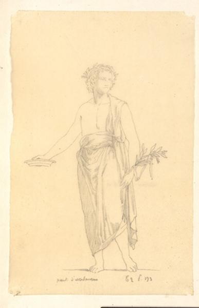 LENEPVEU Jules Eugène (dessinateur) : Homme (effectuant une libation ou une offrande)