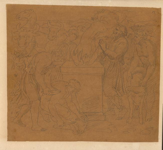 LENEPVEU Jules Eugène (dessinateur) : Scène de sacrifice, Scène avec personnages