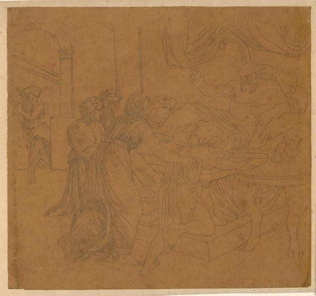 LENEPVEU Jules Eugène (dessinateur) : Femmes dans un intérieur