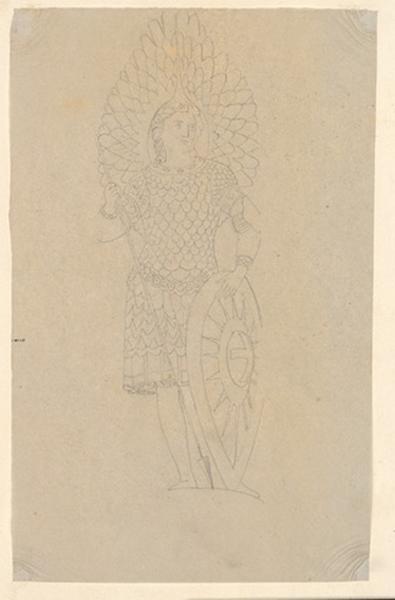 LENEPVEU Jules Eugène (dessinateur) : Saint Michel (archange), Guerrier au repos (autre titre)