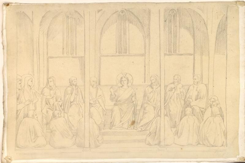 LENEPVEU Jules Eugène (dessinateur) : Christ assis (parmi les docteurs)