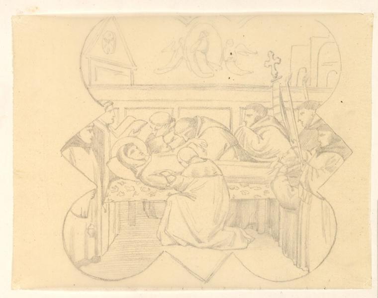 LENEPVEU Jules Eugène (dessinateur) : Homme sur son lit de mort