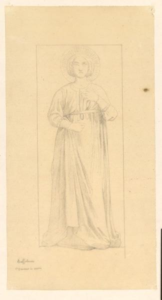 LENEPVEU Jules Eugène (dessinateur), BUFFALMACCO Buonamico (d'après) : Sainte