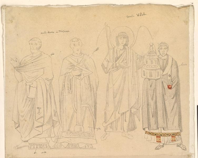 LENEPVEU Jules Eugène (dessinateur) : Etude de mosaïque à Santa Maria Intrastevere