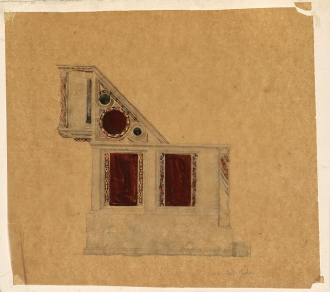LENEPVEU Jules Eugène (dessinateur) : Etude d'un décor d'intérieur