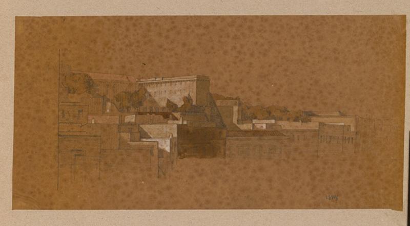 LENEPVEU Jules Eugène (dessinateur) : paysage avec architecture