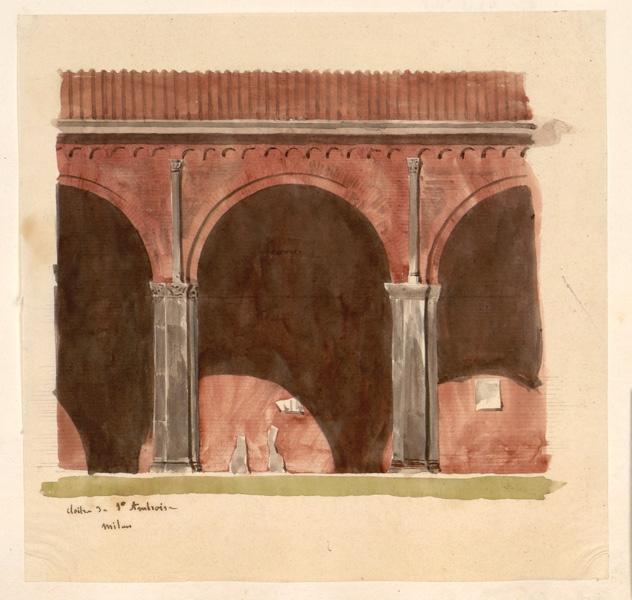 LENEPVEU Jules Eugène (dessinateur) : Dessin d'un cloître
