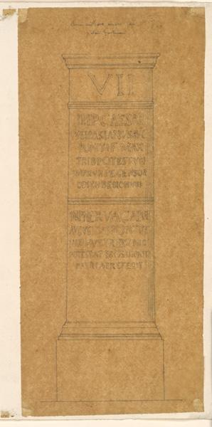 LENEPVEU Jules Eugène (dessinateur) : Borne antique, Palais en Italie