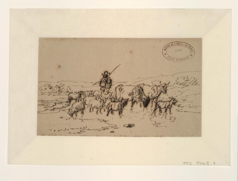 VERBOECKHOVEN Eugène (dit), VERBOECKHOVEN Eugen Joseph (dessinateur) : Un Berger au milieu de son troupeau