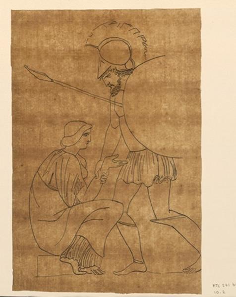 Une femme assise est relevée ; Scène mythologique