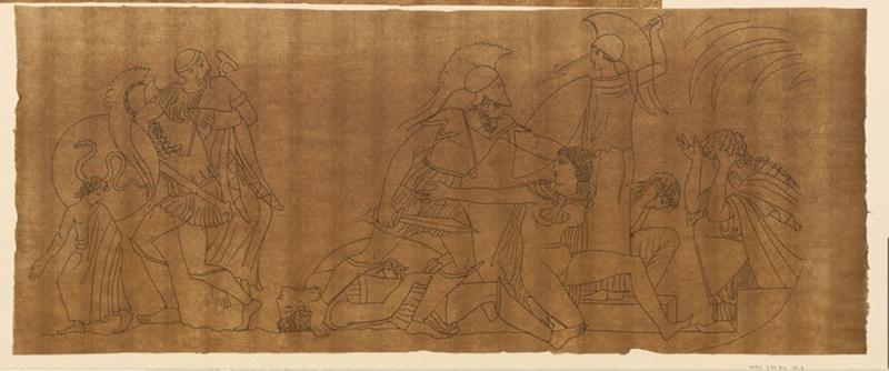 Nymphes se défendant ; Scène mythologique (Sur le relevé de Turpin, est inscrit 10- Scènes mithologiques [sic], 3 dessins)