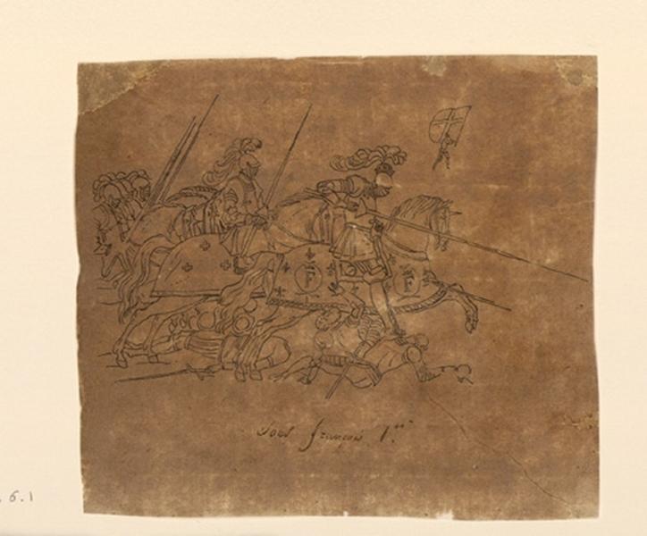 Chevaux et groupe de chevaliers armés_0