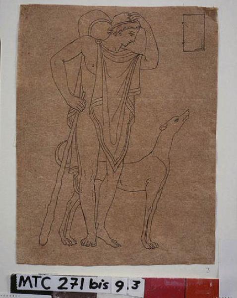 Femme au péplum et un chien