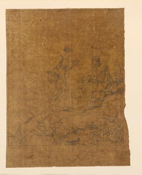 TURPIN DE CRISSE Lancelot Théodore Comte de (dessinateur) : Femme apportant des provisions à un voyageur