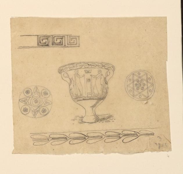 Croquis de vases, rosaces et frises courantes