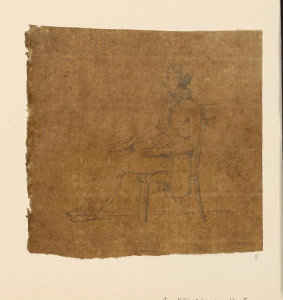 TURPIN DE CRISSE Lancelot Théodore Comte de (dessinateur) : Croquis de jeune homme assis