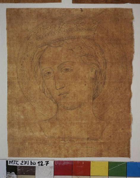 TURPIN DE CRISSE Lancelot Théodore Comte de (dessinateur) : Tête de sainte ou de vierge, Reine nimbée et diadèmée (autre titre)
