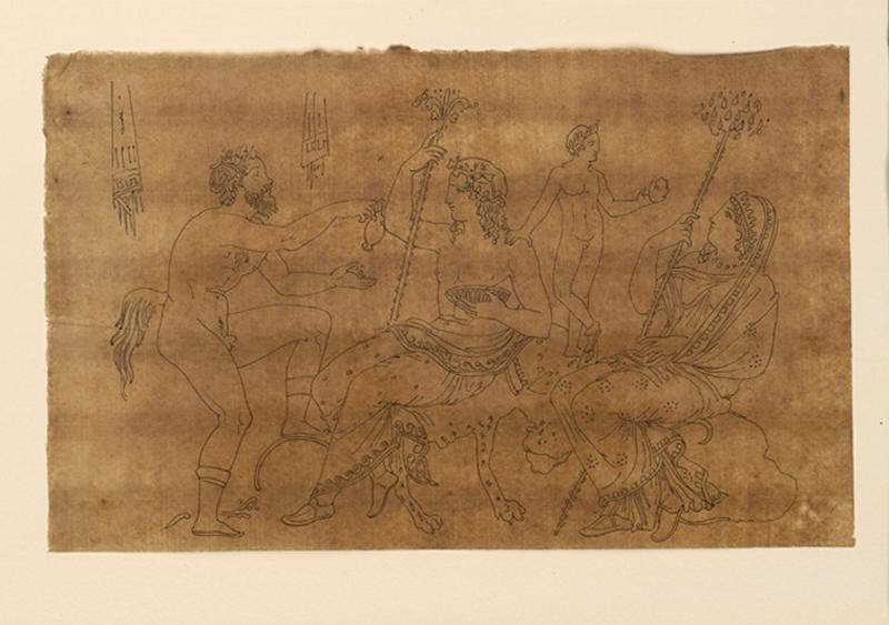 TURPIN DE CRISSE Lancelot Théodore Comte de (dessinateur, peintre) : Etude pour un satyre et Bacchus, Scène mythologique (Sur le relevé de Turpin, est inscrit 13- 4 Scènes mithologiques [sic])