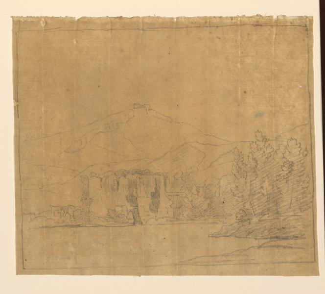 TURPIN DE CRISSE Lancelot Théodore Comte de : Château, paysage esquissé