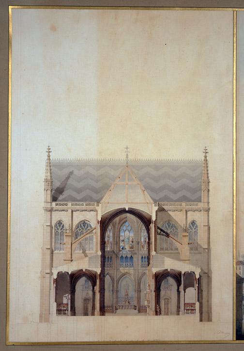 Eglise Saint-Bernard, Paris, Coupe transversale de la nef (Coupe transversale de la nef, élévation du chevet, coupe longitudinale du transept.)_0