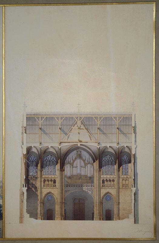 Eglise Saint-Bernard, Paris, coupe du transept (Coupe transversale de la nef, élévation du chevet, coupe longitudinale du transept.)_0