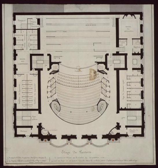 ANDRE Gaspard Abraham (architecte) : Projet du théâtre des Célestins, Lyon, plan (Etage du parterre)