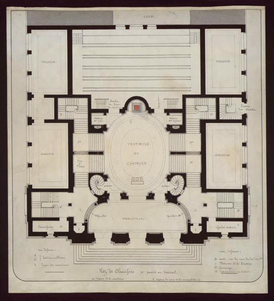 ANDRE Gaspard Abraham (architecte) : Projet du théâtre des Célestins, Lyon, plan (Rez de chaussée)