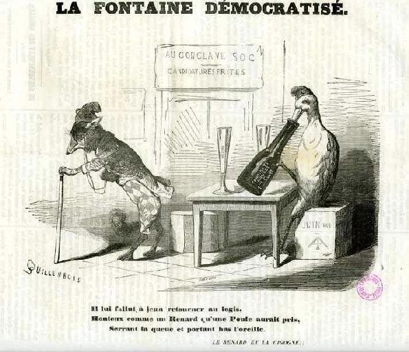 La Fontaine Démocratisé ; Le Renard et la Cigogne, I, 18_0