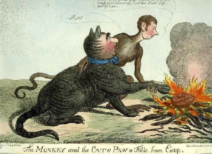 The Monkey and the Cats Paw a fable from Esop ; Le Singe et le Chat, IX, 17_0