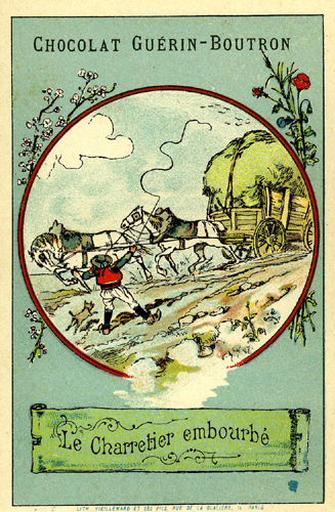 Le Chartier Embourbé, VI, 18 (Le texte de la fable est reproduit au revers)