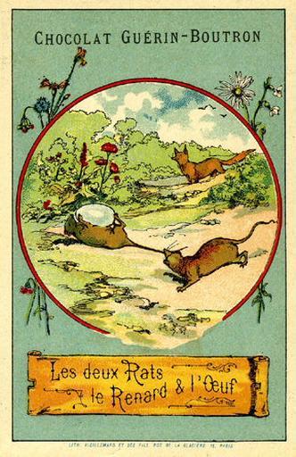 Les deux Rats, le Renard et l'Oeuf, IX (Le texte de la fable est reproduit au revers)_0