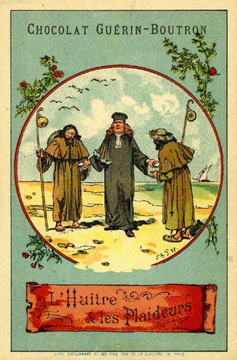 L'Huître et les Plaideurs, IX, 9 (Le texte de la fable est reproduit au revers)
