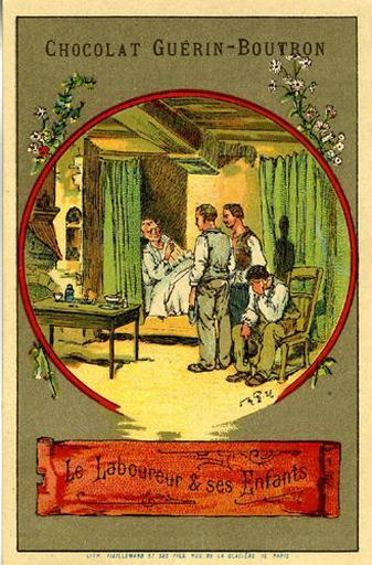 Le Laboureur et ses Enfants, V, 9 (Le texte de la fable est reproduit au revers)