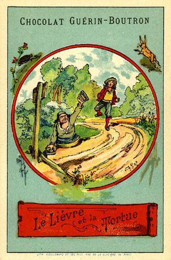 Le Lièvre et la Tortue, VI, 10 (Le texte de la fable est reproduit au revers)