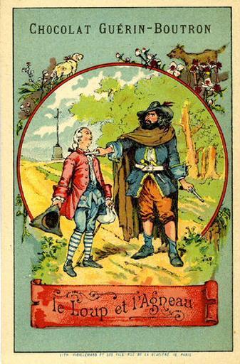 Le Loup et l'Agneau, I, 10 (Le texte de la fable est reproduit au revers)_0