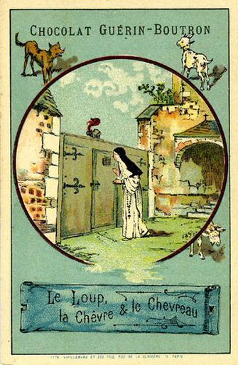 Le Loup, la Chèvre et le Chevreau, IV, 15 (Le texte de la fable est reproduit au revers)_0