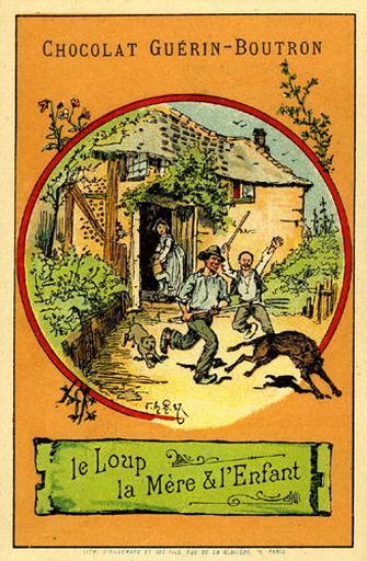 Le Loup, la Mère et l'Enfant, IV, 16 (Le texte de la fable est reproduit au revers)
