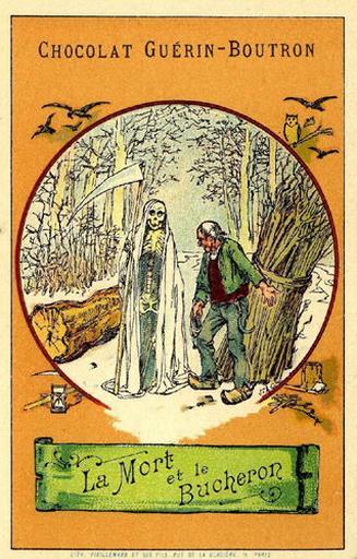 La Mort et le Bûcheron, I, 16 (Le texte de la fable est reproduit au revers)